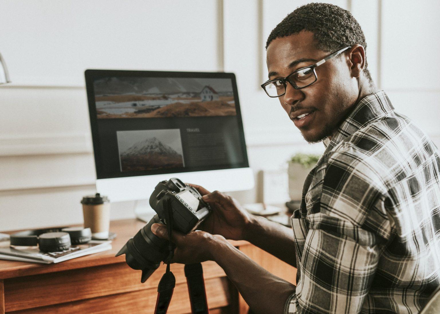 Photographer selecting photos